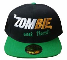GREEN **ZOMBIE eat flesh** SUBWAY SANDWICH PARODY SPOOF Snap Back Hat FOR FUN