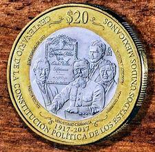 """2017 Mexico 20 pesos Bimetallic coin """"Constitucion de 1917"""""""