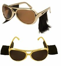 ROCK N ROLL SUNGLASSES WITH SIDEBURNS ELVIS FANCY DRESS MENS STAG NIGHT