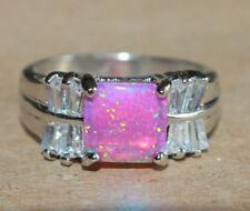 fire opal topaz ring gems silver jewelry Sz 6.5 7 7.5 8 cocktail engagement band
