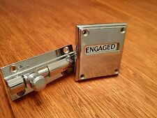 ART DECO ANTIQUE CHROME BATHROOM VACANT ENGAGED DOOR LOCK WC LAVATORY TOILET OLD