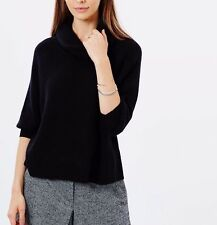 Karen Millen Luxury Wool Knit Cowl Neck Black Rib Jumper Top Sweater 8 36 £115