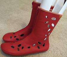 Women's Camper Zip Front Designer Leather Boots Red Spain  Sz. 37 / 7  $215