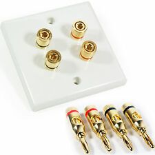 4 Port Speaker Wall Face Plate & 4x 4mm Banana Plugs – Binding Post Gold Speaker