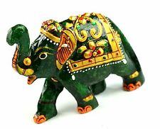 271 Ct Home Decorative Gold Art Work Dark Green Jade Elephant Figurine