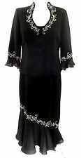 Plaza South Women's Size 14 Dress Black Formal Full Length Ruffle 2 Pce Set NWT