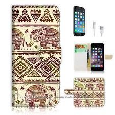 iPhone 7 PLUS (5.5') Flip Wallet Case Cover P0434 Aztec Elephant