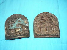 "Vintage Antique Solid Bronze Book Ends Ship Boat "" Old Ironside "" Nautical"