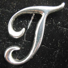Sterling Silver (925) Large Letter T Brooch by Creola