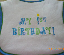 KIDS 2 GROW my 1st birthday blueTRIM boy BIB candle design
