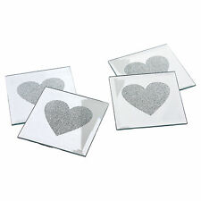 4x love coeur verre miroir table de café tasse tapis boissons coaster caboteurs set