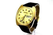 *NOS* Vintage BENRUS Day Date 17 Jewel 14K Gold Plaque Men's Dress Watch CLEAN