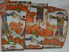 Wired Ribbon~Fall Harvest Scarecrow~Thanksgiving Pumpkin~Crow~Wreath~Craft~Bow