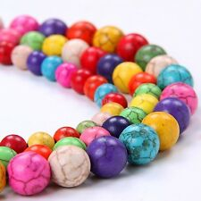 50pcs Strand Gemstone Turquoise Charms Round Loose Spacer beads 8mm, Mixed