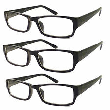 3 PC BLACK FRAME RETRO Geek Nerd Non Prescription Vintage Clear Lens Eye Glasses