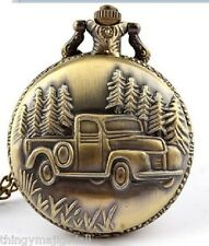 Antique Bronze Pocket Watch American Truck 4X4 SUV USA Necklace Dad Fahers Day