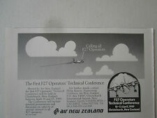 1/1989 PUB AIR NEW ZEALAND FOKKER F27 TECHNICAL CONFERENCE CHRISTCHURCH AD
