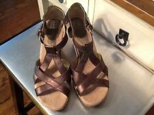 Born On Concept Women's Strappy Bronze Metallic Wedge Heel Sandal Shoes 42//10