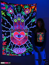 HAMSA EYE HAND Psychedelic Art UV Blacklight Tapestry Wall Hanging Backdrop Deco