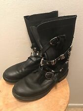 Steve Madden Women's Size 9 Black Leather Strappy Moto Motorcycle Boots