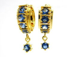 PRETTY BLUE SAPPHIRE CZ THAI EARRINGS 22K 18K Yellow Gold GP Baht Jewelry