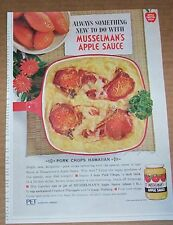 1964 vintage ad - Musselman's Apple Sauce Hawaiian Pork Chops recipe PRINT AD