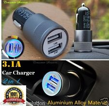 3.1A Dual USB Car Charger Alloy 2 Port Universal Fast Charging For Samsung S3