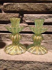Ercole Barovier Toso Murano Art Glass Candlestick Pair Cordonato D' Oro Italy