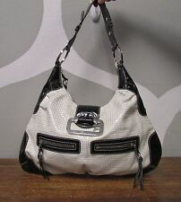GUESS Black White Perforated Patent Leather Large 3 Pocket Hobo Shoulder Bag