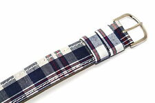 18MM BLUE RED WHITE LEATHER NYLON PLAID SLIP THRU ONE PIECE WATCH BAND BRACELET