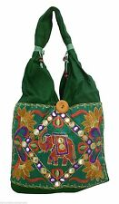 INDIAN WOMEN HAND BAGS HANDMADE FASHION GREEN SHOULDER COTTON BAG NEW FOR SALE
