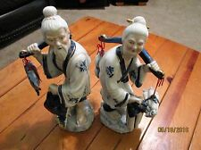 "Man & Wife Japanese Porcelain Samuri Figurines 15.5 "" tall ""Ex Cond"""