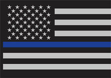 "Thin Blue Line Law Enforcement Flag Sticky Back Decal 3"" x 4 1/4"""