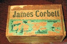 EXTREMELY RARE 1890's - early 1900's World Champion James Corbett cigar wood box