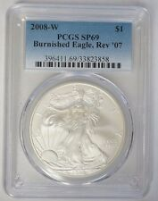 2008 W $1 American Silver Eagle 1 oz PCGS SP69 Burnished Reverse of 07