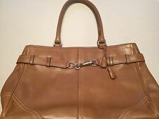 COACH Hampton Carryall Belted Brown Leather Tote Bag 05A08 Handbag