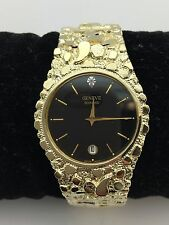 "New Men's Geneve Diamond 10K Solid Yellow Gold Nugget Style 8"" Wrist Round Watch"