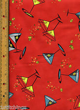 Flirty Fifties Quilt Quilting Fabric by half yard Martini Glasses Drinks 21282-R