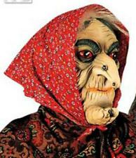 Witch Mask With Red Headscarf & Hair Wig Old Woman Halloween Fancy Dress