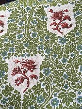 VINTAGE AND NEW 'WILLIAM MORRIS INSPIRED 'HEAVY LINEN PRINT FABRIC GREENS/CREAMS