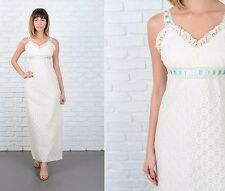 Vintage 70s White Lace Cocktail Dress Party Sweetheart Maxi XXS