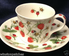 DUNOON ENGLAND DOVEDALE CUP & SAUCER 4 OZ STRAWBERRIES FLOWERS LADYBUGS