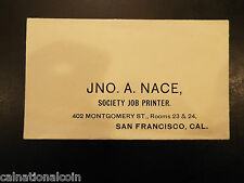 1895 JNO. A. NACES ociety Job Printer envelope