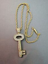 Key Pendant Necklace Bright White Crystal Pave Set Gold Plate Chain Barrel Catch