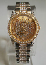 Mens Designer Style hip hop CZ Bling clubbing Gold/silver finish fashion watch
