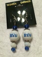BRIGHAM YOUNG UNIVERSITY EARRINGS  BYU HANDCRAFTED GLASS BEAD HOOK STYLE COLLEGE