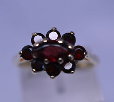 14K YELLOW GOLD GARNET OVAL CLUSTER RING 1.3 CARATS TW  SIZE 6.5