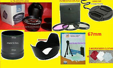 22pcs SET: 2.2x TELEPHOTO LENS 67mm+ADAPTER SONY DSC-HX200 HX200V+HOOD+FILTER+67