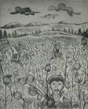 Mohnblumenernte in Afghanistan Radierung (1/13) 1978 Mohnblumen Ernte