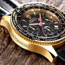 ��DETOMASO Firenze Mens 42mm Gold Chronograph Watch Seiko Black Leather New��